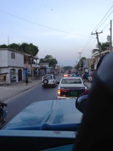 An Estes team in Haiti was escorted to the airport on Monday morning, Oct. 12. Photo by Carrie Sells.